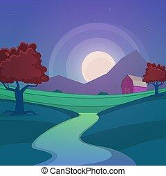 Night Farm Landscape