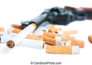 Smoking kills - Revolver, cigarettes and cigarette butts...