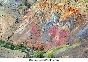 Colorful clay in the Altai Mountains - Deposit of colorful...