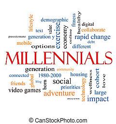 millennials, begrepp, ord, moln