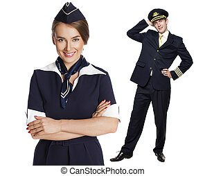 Captain of the aircraft and a beautiful flight attendant in...