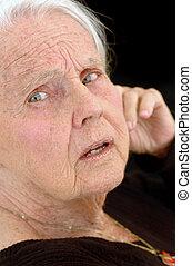 Upset Great Grandmother - Upset great grandmother, close up...