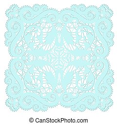 Lace doily - Turquoise lacy doily with flowery pattern on a...