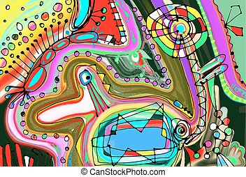 original digital painting of abstraction composition, you...