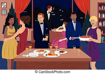 People at Dinner Party - A vector illustration of people...