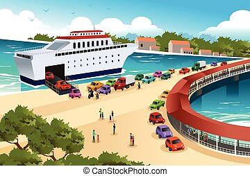 Cars Queuing Waiting for a Ferry - A vector illustration of...