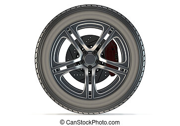 3d detailed car wheel on white background