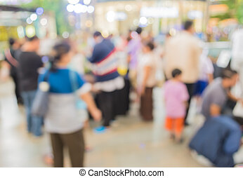 image of blur people at pet show for background usage