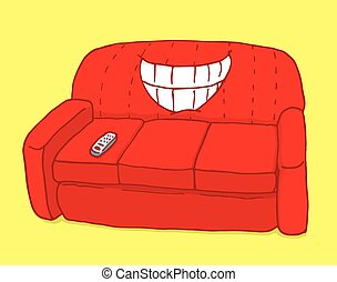 Red couch showing teeth with ironic grin