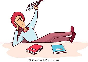 Distracted student throwing a paper plane - Cartoon...