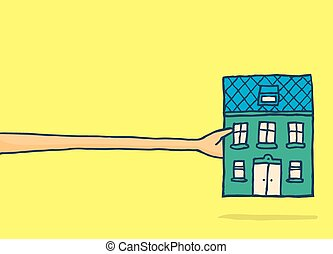 Man stretching to get a small house