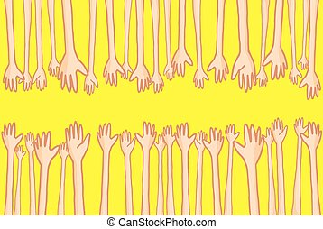 Hands reaching out and helping lots of connecting people