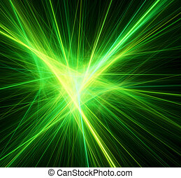 Bright green beams. Digital generated this image