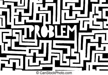 Problem hidden in endless complex maze - Cartoon...