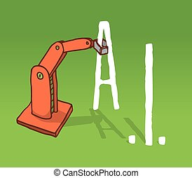 Robot arm grabbing artificial intelligence acronym - Cartoon...