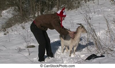 Man Goat Congratulates On Christmas - The man in the comic...