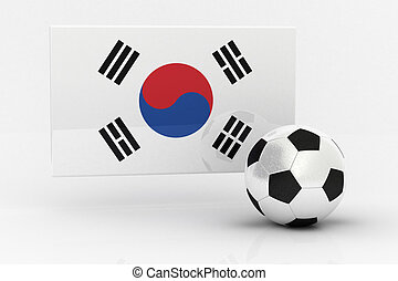 Korea Republic Soccer - Flag of Korea Republic with soccer...