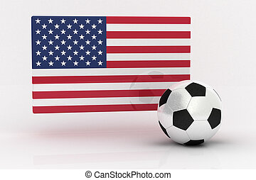 USA Soccer - Flag of the USA with soccer ball