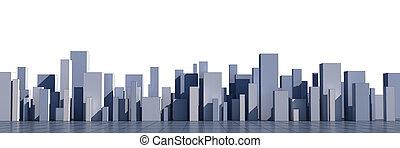 skyline of a 3d town