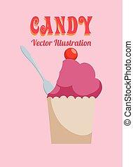 Sweet food design over pink background, vector illustration