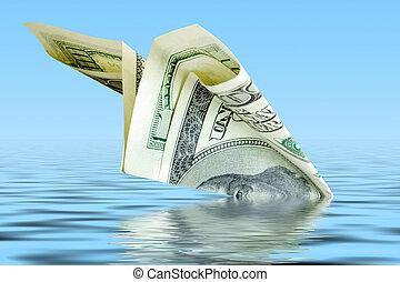 crisis concept. money plane wreck