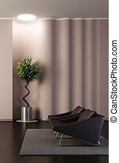 design of the lounge room with wavy wall