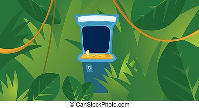 Misplaced arcade machine hiding in the jungle - Cartoon...