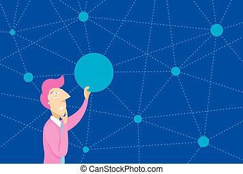 Man connecting dots on complex network