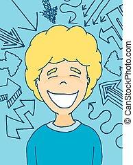 External factors influencing a happy kid - Cartoon...
