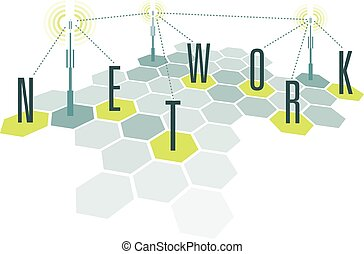Communication network cells with letters - Cartoon...