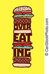 Huge overeating burger with cheese - Cartoon illustration of...