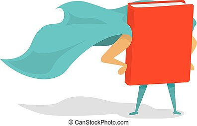 Super book hero with cape - Cartoon illustration of a book...