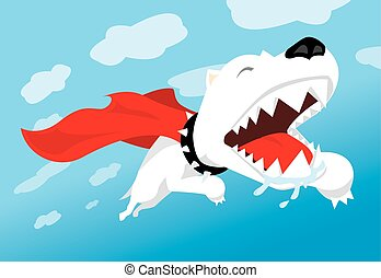 Super dog flying with cape