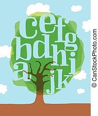 letras, alfabeto, folhas, árvore, verde, ou