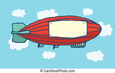Cartoon zeppelin with blank advertising space - Cartoon...