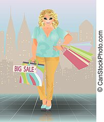 Plus size sale woman, vector illustration