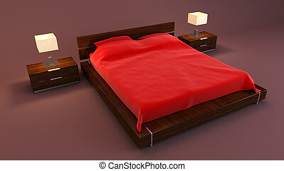 red bedroom interior 3d rendering