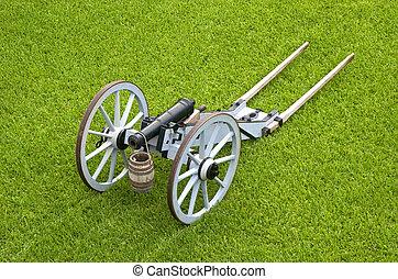 canhão, rodas, antigas, Exibição