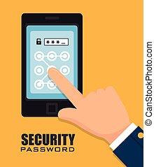 sicurezza, digitale, disegno