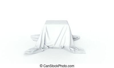 the goods covered with a white cloth Isolated on white...