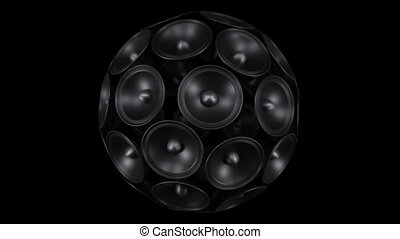 loud sound system. Isolated on a black background