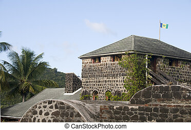 original stone construction of old fort built in the 1700\'s...