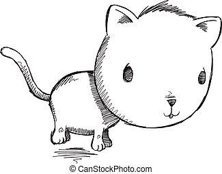 Sketch Doodle Kitty Cat Vector Art