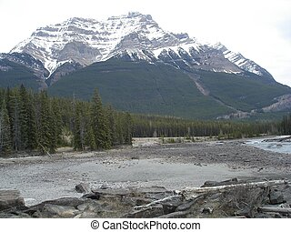 Mt Robson scenic - The large mountain at it`s base with a...