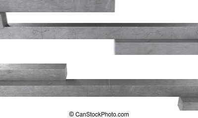 concrete beams formed in a ladder, video transitions in full...