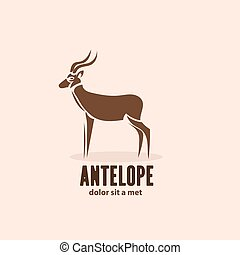 Artistic stylized antelope icon. Silhouette wild animals....