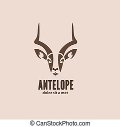 Artistic vector silhouette antelope Stylized idea wild...