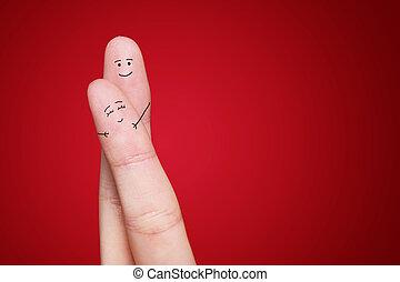 a, heureux, couple, dans, Amour, à, peint, smiley,...