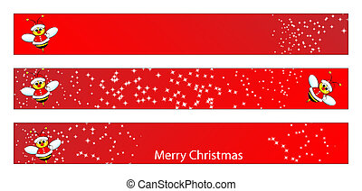 Christmas web banner with a bee
