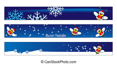 Christmas web banner with a bee Santa Claus